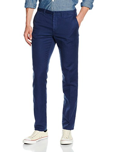 United Colors of Benetton Linen Chino-Pantaloni Uomo Slim Fit, blu (navy), W33/L33