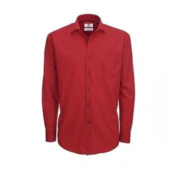 Chemise élégante à manches longues en popeline B&C pour homme (S) (Rouge profond)