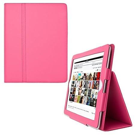 iPad 3eme generation iPad 2 Housse en cuir pour Apple iPad 2 avec rabat/stand de positionnement support et le sort de veille (Magenta,)