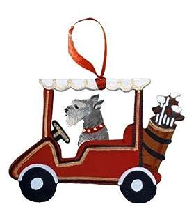Miniature Schnauzer Dog Golf Cart Wooden Handpainted 3-Dimensional Christmas Ornament - USA made.
