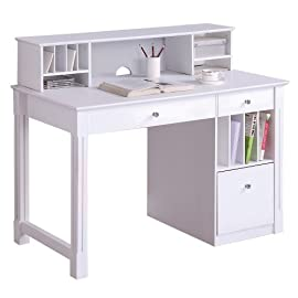 Computer Writing Desk with Drawers and Hutch , White : Office Desks