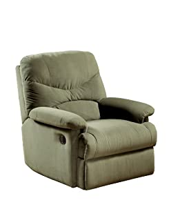 Arcadia Sage Microfiber Recliner by Acme Furniture