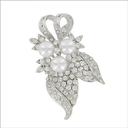 Three Pearls & Crystal Stone Accent Pin #041899