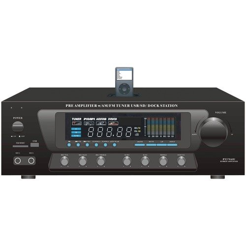 PYLE HOME PT270AIU 30-Watt Stereo AM/FM Receiver with iPod(R) Dock