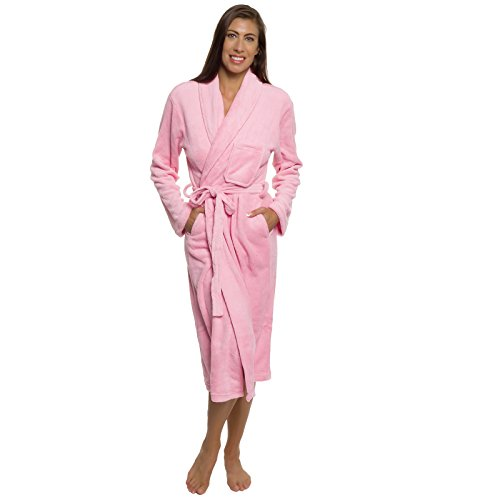Silver Lilly Women's Robe - Plush Wrap Shawl Collar Kimono Bathrobe