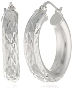 "Sterling Silver Tarnish-Free Medium Diamond-Cut Hoop Earrings (0.8"" Diameter) by Amazon Curated Collection"