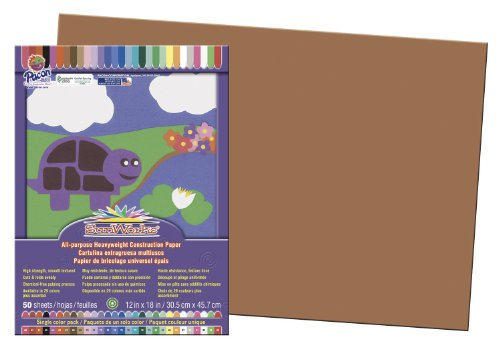 "SunWorks Construction Paper, 12""X18"", Brown, 50 Sheets"
