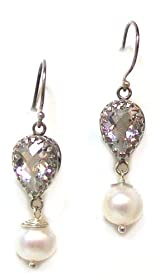 Sara Blaine Fine Sterling Silver Dangle Earrings with White Topaz Teardrops and Pearls