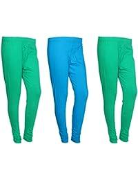 IndiWeaves Women Cotton Legging Comfortable Stylish Churidar Full Length Women Leggings-Green/Sky Blue-Free Size-Pack...