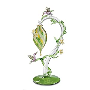 Garden Treasures Hummingbird Feeder Glass Art Figurine by The Bradford Exchange