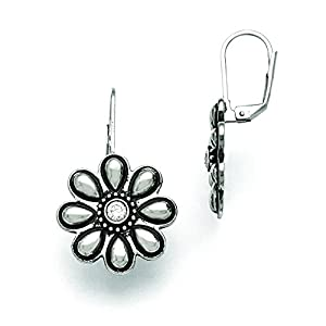 Stainless Steel Polished/Antiqued Cz Flower Earrings
