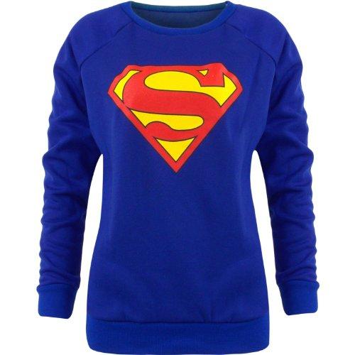 da donna BATMAN SUPERMAN Boy motivo stampa coperchio stampato JUMPER sudore-shirt dimensioni 814