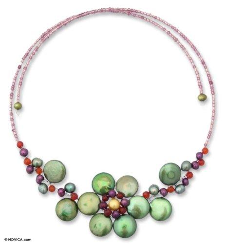 Pearl choker, 'Tantalizing Green Violet'