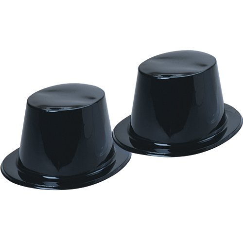 Dozen Black Plastic Top Hats for ages 3+ - 1
