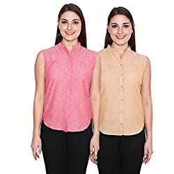 Numbrave Women Sleevless Cotton Multicolors Solid Shirt (Pack of 2)