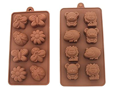 Joinor 2pc Ice Tray Molds Candy Molds, Chocolate Molds, Soap Molds Candy Making Kit Happy Bear, Lion, Hippo & Bee, Butterfly, Ladybug, Flower