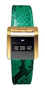 Ventura Ladies Miss V Digital Watch W 32 L4 with Vermeil Case and Green Python Strap