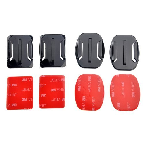 Bluefinger 2Pcs Flat & 2Pcs Curved Mounts With 3M Adhesive Pads For Gopro Hero3/2/1
