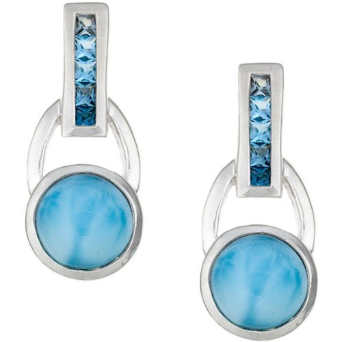 MarahLago - Larimar and Blue Topaz Aqua Earrings