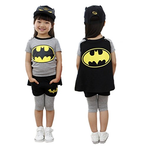 StylesILove Girl Batgirl Costume T-shirt with Cape and Shorts Set