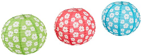 Beistle 54574 3-Pack Hibiscus Paper Lanterns, 9-1/2-Inch