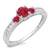 0.75 Carat (ctw) 14K Gold Round Red Ruby & White Diamond Ladies Bridal 3 Stone Engagement Ring 3/4 CT by DazzlingRock