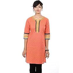 Saamarth Impex Printed Pink Color 3/4 Sleeve Medium Reversible Cotton Kurities SI-2082