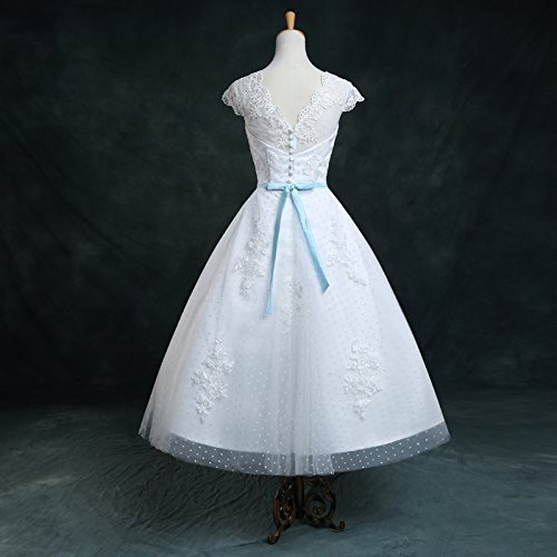 Honey Qiao Vintage Spots 1960S White Wedding Dresses Tea Length Bridal Gowns 4