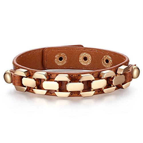 Bamoer 18K Gold Plated Alloy Lover Wrap Bangles Unisex Leather Bracelets Jewelry Gift (Brown)