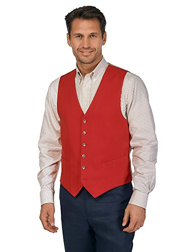 Paul Fredrick Men's 100% Cotton Six-Button Herringbone Vest Red 50