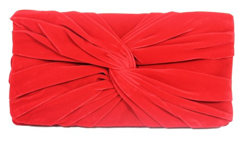 Talia Velvet Twist Flapover Clutch Bag in Bright Red