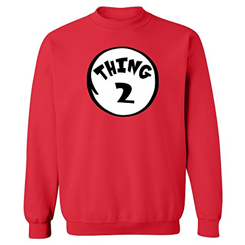 [Thing 2 Dr Seuss Unisex Crewneck Funny Halloween Costume Party Sweatshirt Red X-Large] (But Mommy Costumes)