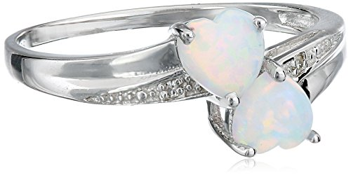 Sterling Silver, Created Opal, and Diamond Double-Heart Ring, Size 7