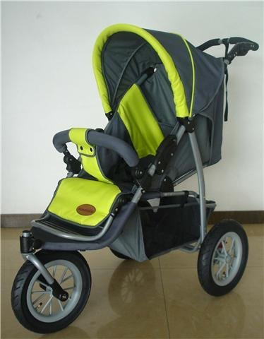 Mamakiddies 3 Wheel Pushchair Jogger Green / Grey *Next Day Delivery*