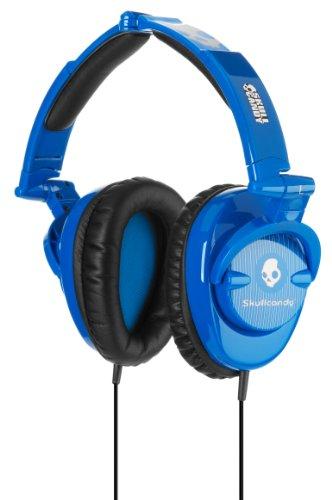 Skullcandy Skullcrushers Blue Pinstrips Subwoofer Stereo Headphones