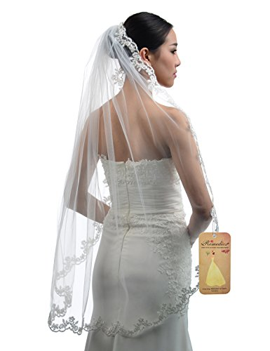 Topwedding Fingertip Length 1 Tier Ivory Wedding Veil with Lace Hem and Comb
