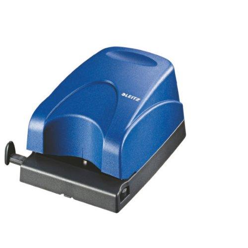 Leitz 50300035 Elektrischer Locher, 1,5 mm, mit Anschlagschiene, blau