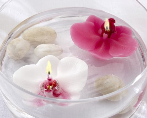 Floating Orchid Candle (Pink, Set of 4)
