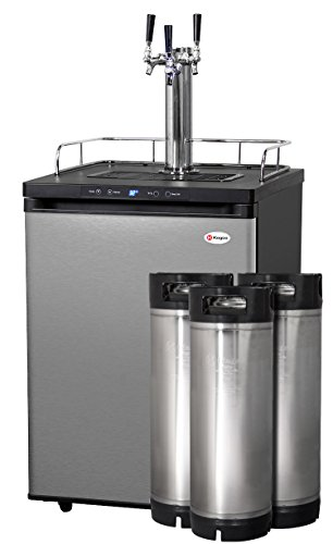 Find Discount Kegco Full-Size Digital Homebrew Kegerator Triple Faucet Stainless with Ball Lock Kegs