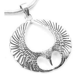 winged sterling silver spread open phoenix wing pendant