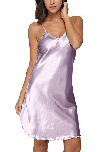 Original Kimono Women's Satin Spaghetti Strap Nightdress Nightgown Babydoll Light Purple XL