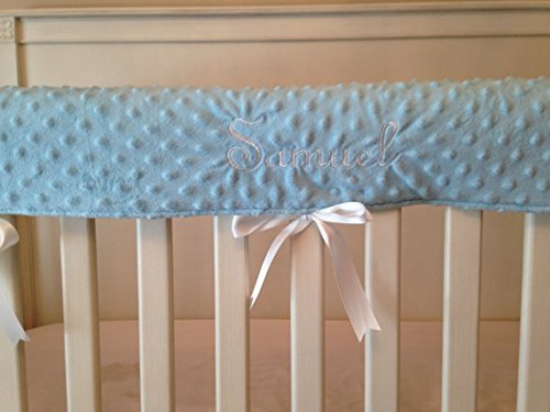 Crib Rail Cover Set Of 3 Baby Blue, Embroidered front-1047986