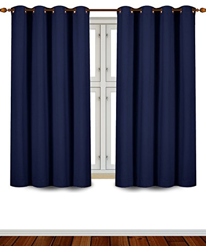 Blackout, Room Darkening Curtains Window Panel Drapes - (Navy Blue Color) 2 Panel Set, 52 inch wide by 63 inch long each panel, 8 Grommets / Rings per panel, 2 Tie Back included- by Utopia Bedding (Window Curtains Bedroom compare prices)