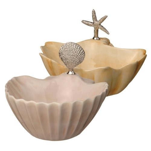 Grasslands Road Ceramic Seashell Dip Bowl With Spreader, 6-Inch, Set Of 4