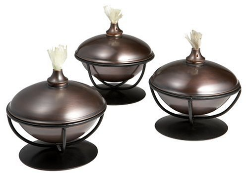 NEW Outdoor Bronze Finish Citronella Yard Patio Oil Lamp Table Tiki Torch Set