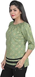 Chikbird Women's Top (CBSSAGR007_Green_Medium)