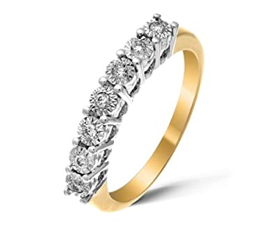 Beautiful 9 ct Gold Ladies Half Eternity Diamond Ring Brilliant Cut 0.12 Carat H-I1