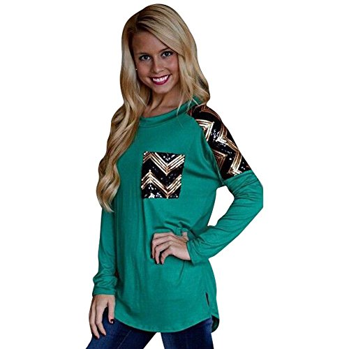 Froomer Womens Long Sleeve Sequins Decor Pullover Shirts Blouse Tops T-Shirt