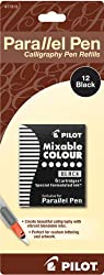 Pilot Parallel Pen Ink Refills for Calligraphy Pens, Black, 12 Cartridges per Pack (77313)