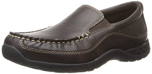 Stacy Adams Porter Moc Toe Slip-on Dress/Casual With Rubber Sole (Little Kid/Big Kid),Brown,7 M US Big Kid